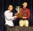 2015 National Champions, Tony Nguyen and Edwin Zhang of Yale, receive the national championship trophy.