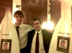 2013 National Champions Ben Kornfeld and Sam Ward-Packard with their prize surfboards.