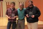 2012 National Champions Will McConnell and Buzz Klinger, of HWS, with their coach, Eric Barnes.